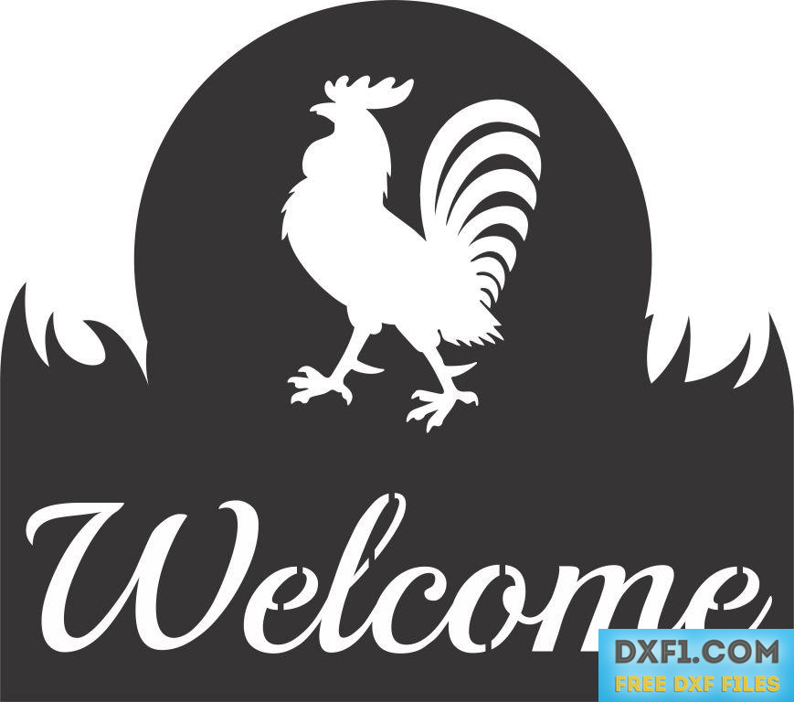 Rooster welcome sign cut out template free dxf files for Sign templates free downloads