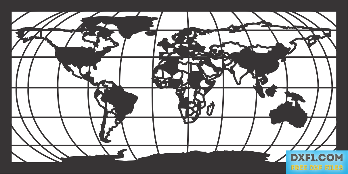 World map dxf plasma cut file free dxf files free cad software share gumiabroncs Gallery