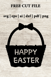 Easter Basket cut file. Free DXF SVG EPS cut files. Happy Easter cut file.