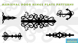 Medieval door hinge plate patterns dxf