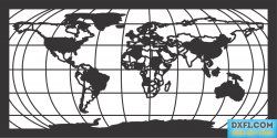 World map dxf plasma cut file