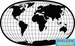 World map with parallel and meridians vector dxf free
