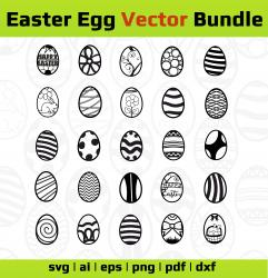 Easter Egg SVG, Eps, Dxf and Png. Vector files ideal for cutting machines. Easter bucket stickers SVG. Easter Egg SVG Bundle, Easter Egg Cut Files.